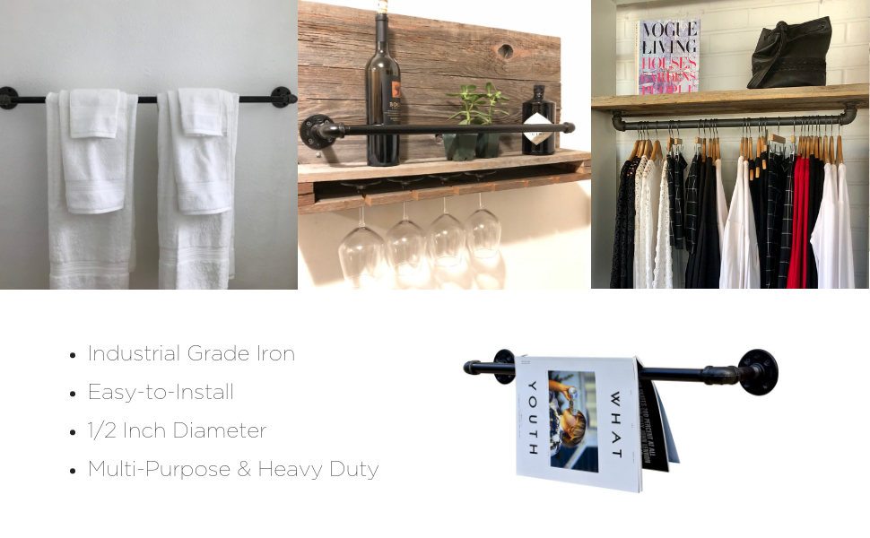 DIY towel curtain rod industrial steel metal clothing rack hardware plumbing pipe farmhouse decor