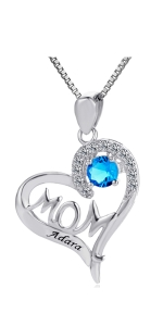 Sterling Silver Personalized Mom Necklace Engrave Name Birthstone Custom Pendant