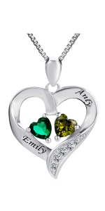 Sterling Silver Personalized 2 Birthstone Necklace Engraved Name Promise Jewelry