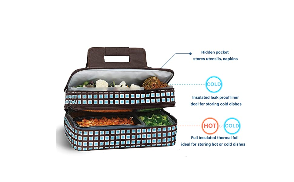 psm-721, casserole lasagna lugger for potluck parties beach picnic thermal lunch bag tote two layer