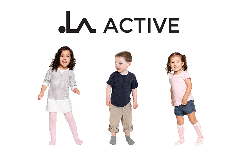 LA Active logo with two girls and one boy wearing grip tights ankle and knee high socks in colors