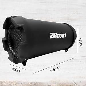 portable lightweight carry strap portátil durable small 2boom speaker light rubber base grills black