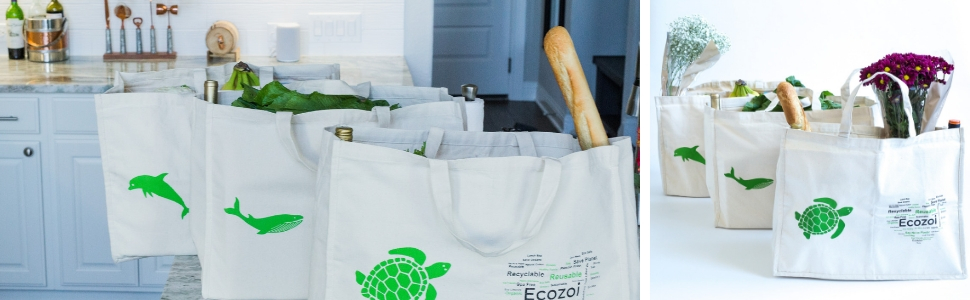 biodegradable sustainable organic cotton grocery shopping produce bag tote ecozoi compostable carry