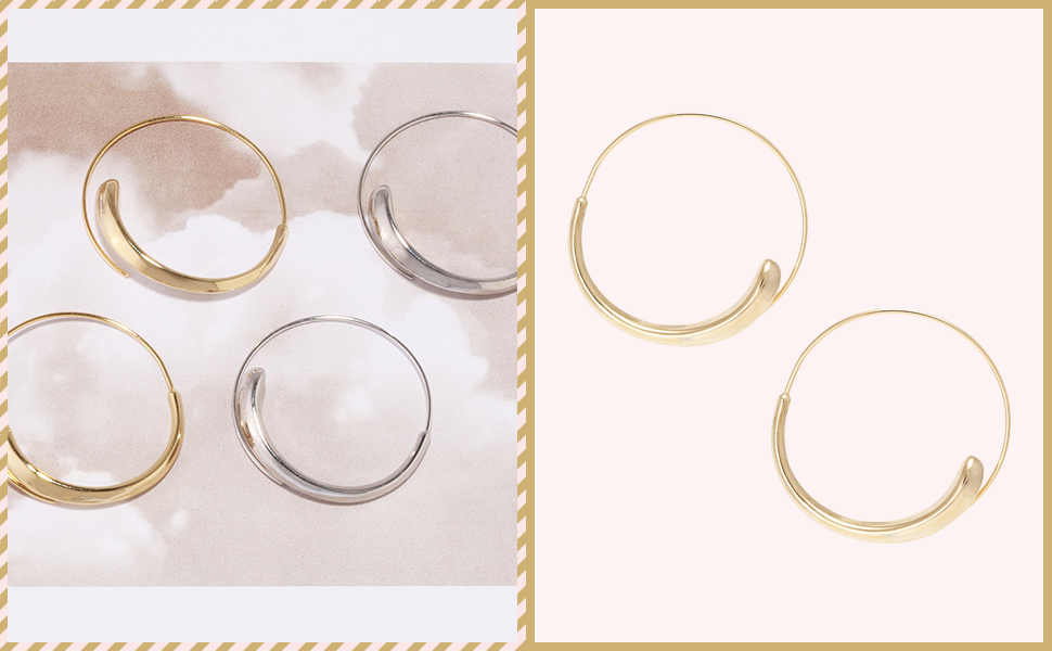 Circle Shaped Pierced Open Wire Needle Threader Coil Hoop Earrings for Women