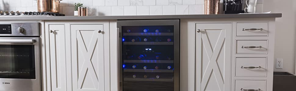 Avallon wine cooler built into white cabinets