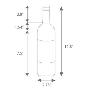 "Standard sized 750ml 2.75"" Bordeaux bottle dimensions"