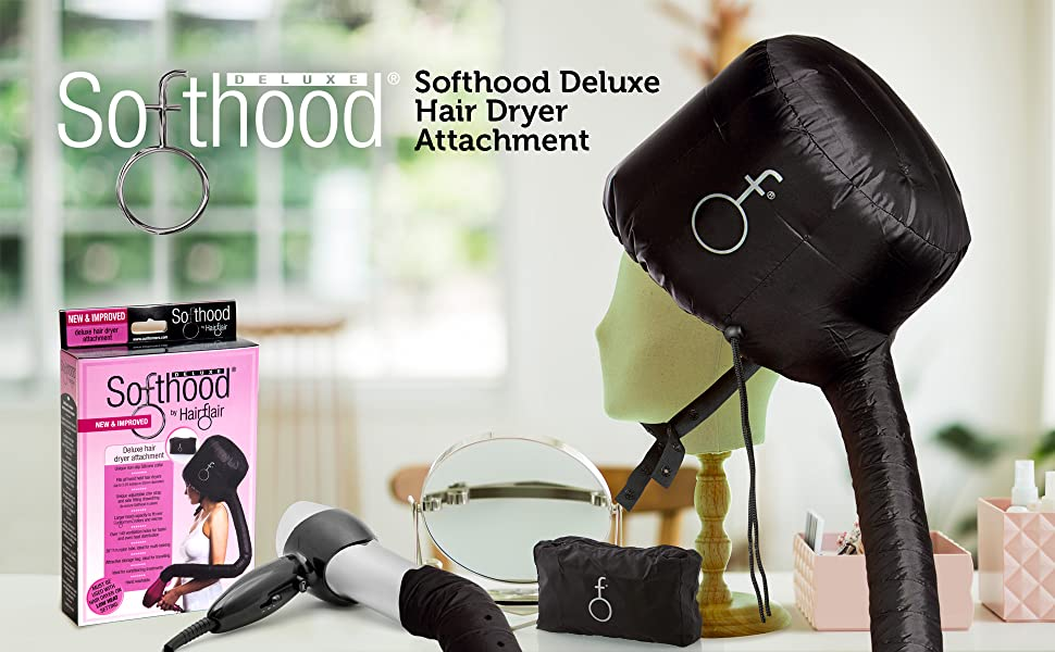 Bonnet Hood Hair Dryer Attachment called Softhood by Hair Flair for drying hair with diffused heat
