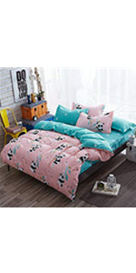 baby panda bed duvet cover set coverlet bedspread soft breathable cute sheet pillow