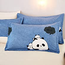 pillow cases twin bedding kids soft comfy tight fabric blue bed set bedroom decor bed sheet