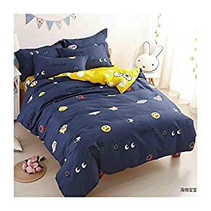reversible bedding for kids boys girls blue yellow big star smile faces pattern