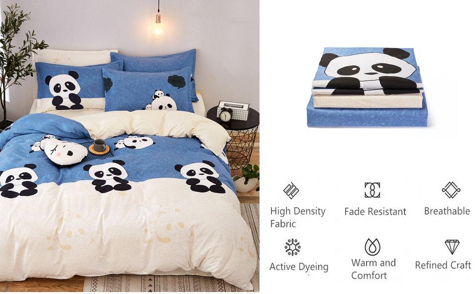 panda bear blue comforter set duvet insert cover kids bedding girls boys teenagers bed set pillow