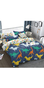 dinosaur bed duvet cover set coverlet bedspread soft breathable cute sheet pillow