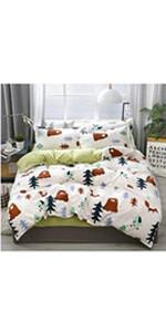 Bear bedding twin duvet cover set bed decor soft cute pillowcases comfy