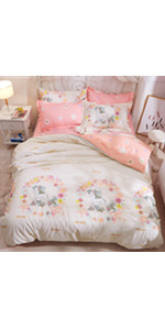 unicorn bed duvet cover set coverlet bedspread soft breathable cute sheet pillow