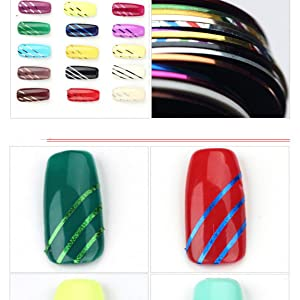GREEN FABWOOD 30 Color Rolls Striping Tape Line Nail Art Decoration Sticker