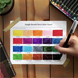 brush pens color chart