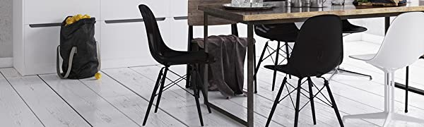 Black Leg, Rayleg, Wooden Leg, Side Chair, Plastic, Dining Chair