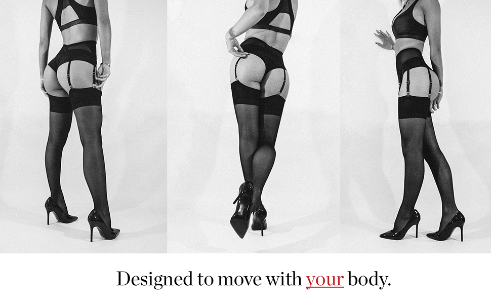 sofsy Mesh Garter Belt Designed to move with Model's body
