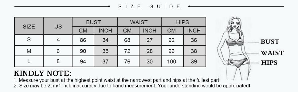 zaful bikini size chart