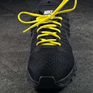 Neon Bright Yellow Oval Round Athletic Shoelaces