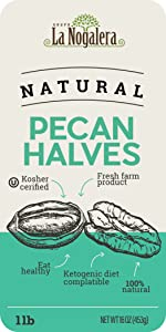 1 one lbs pound of natural and raw pecan havles