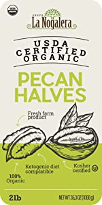 2 TWO LBS POUNDS OF USDA CERTIFIED ORGANIC PECAN HALVES