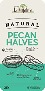 2 two lbs pounds of natural and raw pecan halves pecans