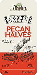 1 one lbs pounds of roasted and salted pecan halves