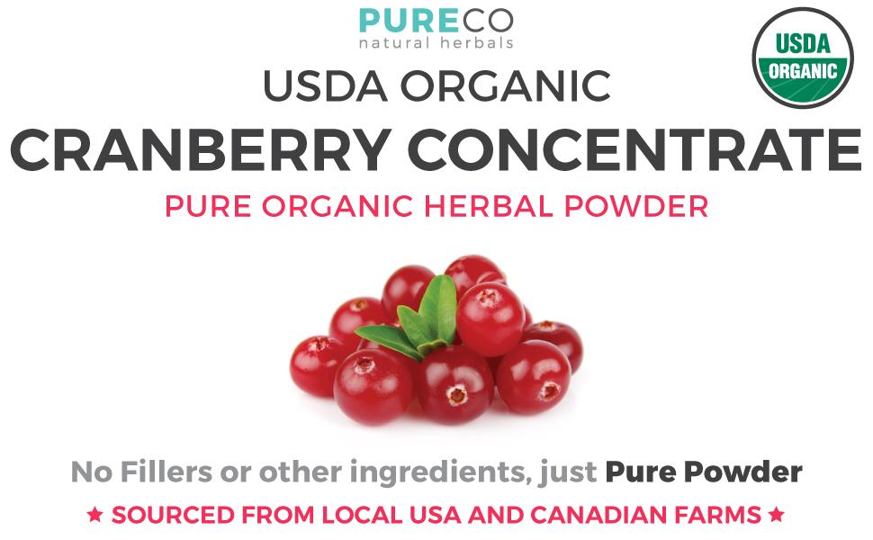 Pure Co USDA Organic Cranberry Powder - No Fillers
