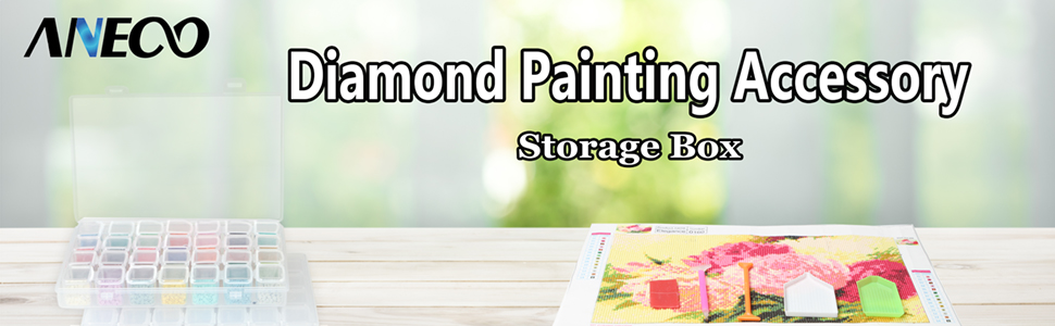 The diamond painting box is on the desk;
