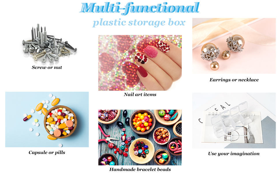 Ear rings, screws, beads, pills and nails