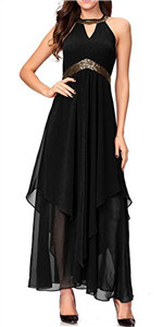 Halterneck Evening Gown Sleeveless Slim Flare Party Maxi Long Dress Black