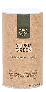 super green supergreens superfood yopur super protein smoothie mix drink powder