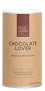 chocolate lover smoothie mix blend powder supplement your super superfood tasty mood booster