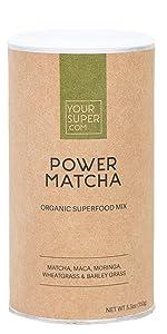 power matcha green tea powder drink mix smoothie blend caffein coffee supplement