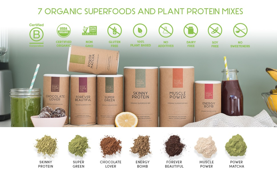 yoursuper your super superfood superfoods mixes smoothie mix powder protein vegan plant based raw