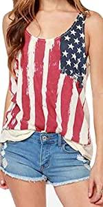 American Flag Chiffon Tank Tops