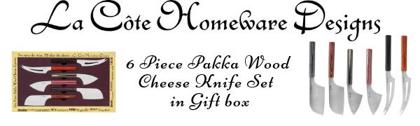 La Cote 6 Piece Cheese Knife Set Stainless Steel Blade Pakka Wood Handle 8 Inch