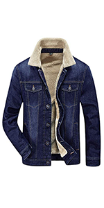Springrain Men S Winter Sherpa Lined Denim Jacket Windbreaker Trucker Jacket