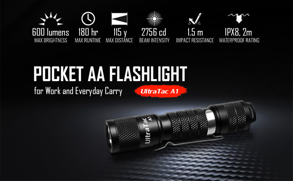 UltraTac A1 Pocket AA Flashlight for Work and Everyday Carry.