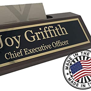 Personalized desk name plate Made in the USA