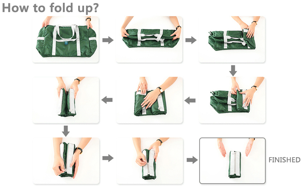 Picture to teach you how to fold up this travel duffel bag