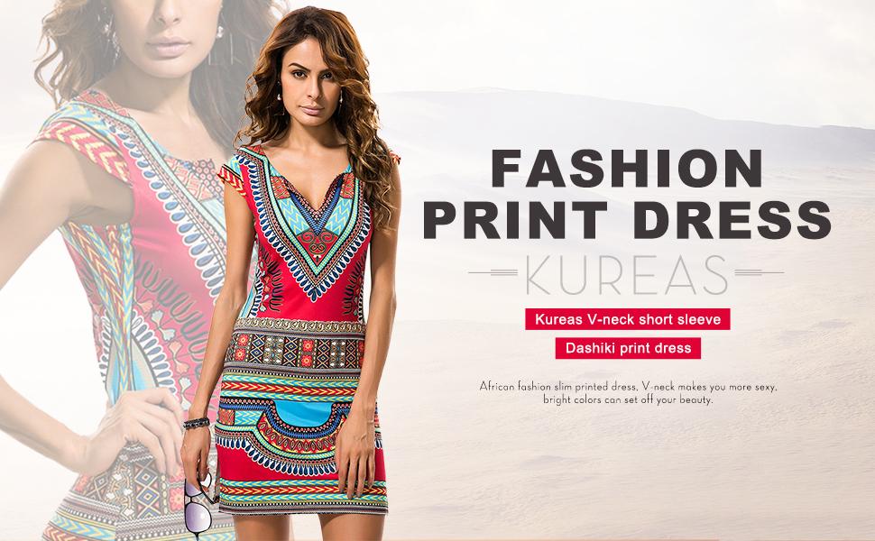 KUREAS V Neck Short Sleeves African Print Bodycon Dress Dashiki Mini Women Casual Dress