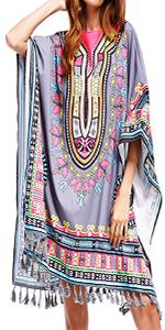 KUREAS Women's Cover Up Dress Print Tassel African Dresses Batwing Sleeves Casual Swimsuit Grey
