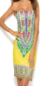 KUREAS Women Strapless Print Bodycon Dress African Dashiki Print Mini Tribal Dress Stretch