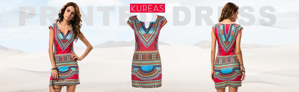 KUREAS Women Dashiki Dress V Neck Short Sleeves Sheath Stretch African Print Bodycon Dress