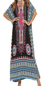 KUREAS African Pattern Print Maxi Dress with Side Slits V Neck Hlaf Sleeves Long Dress