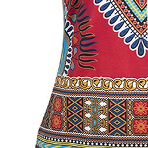 KUREAS African Dashiki Print Women Dress Short Sleeves Split Hem Boho Cocktail Party Dress