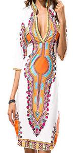 KUREAS V Neck Half Sleeves Dashiki Print African Bodycon Dress Women Mini Dress