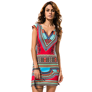 KUREAS Women's Short Sleeves Bodycon Dress African Print Dashiki Bohemian Beach Short Dress
